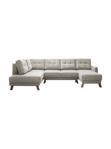 Sofá cama rinconero grande de tercipelo Balio, con espacio de almacenamiento, Tapizado: 100%terciopelo de poliés, Patas: plástico, Beige, marrón, An 310 x F 192 cm