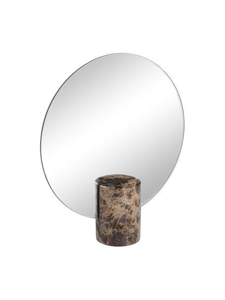 Rahmenloser Kosmetikspiegel Pesa, Spiegelfläche: Spiegelglas, Sockel: Marmor, Braun, 22 x 25 cm