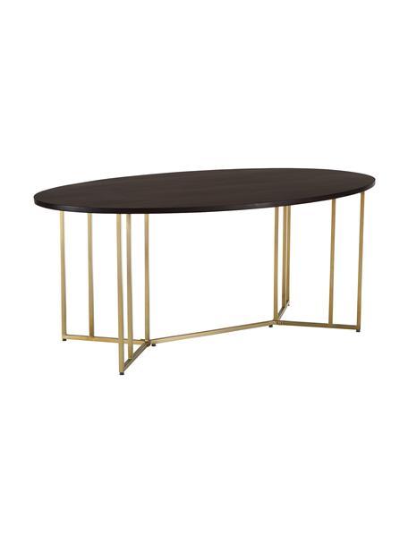 Mesa de comedor ovalada Luca, tablero de madera maciza, Tablero: madera de mango maciza, c, Estructura: metal con pintura en polv, Marrón, dorado, An 180 x F 100 cm