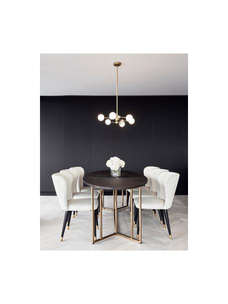 Owalny stół do jadalni z blatem z litego drewna Luca, Blat: lite drewno mangowe, laki, Stelaż: metal powlekany, Drewno mangowe lakierowane na ciemno, S 180 x G 100 cm