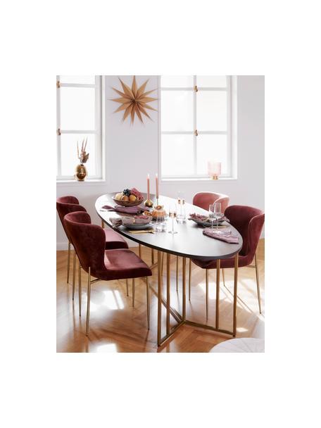 Mesa de comedor ovalada Luca, tablero de madera maciza, Tablero: madera de mango maciza, c, Estructura: metal con pintura en polv, Madera oscura, dorado, An 180 x F 100 cm