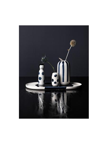 XS-Vase Contrast aus Steingut, Steingut mit Glasur, Weiß, Blau, Ø 4 x H 7 cm