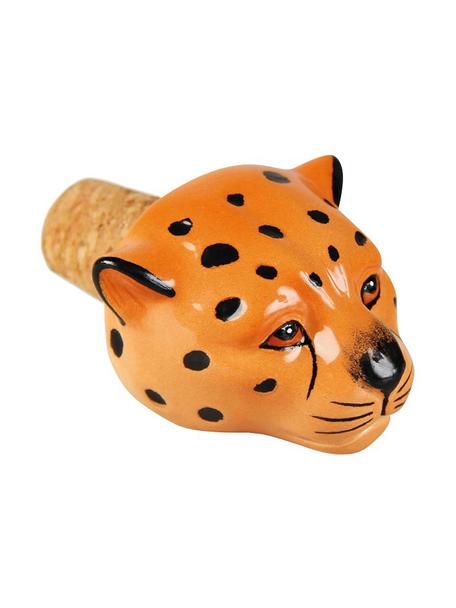Flessenstop Leopard, Keramiek, kurk, Oranje, zwart, 5 x 5 cm