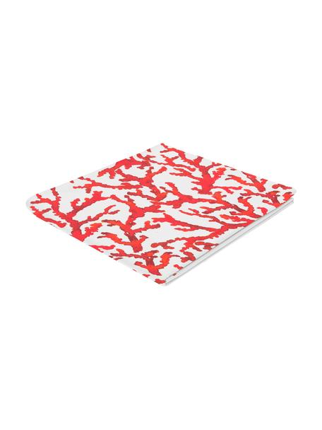 Baumwoll-Tischdecke Estran mit Korallenprint, Baumwolle, Rot, Weiss, Für 4 - 6 Personen (B 160 x L 160 cm)