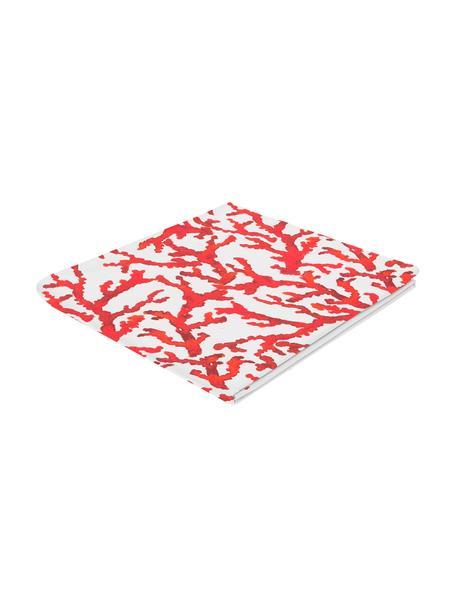 Tovaglia in cotone con stampa corallo Estran, Cotone, Rosso, bianco, Per 4-6 persone (Larg.160 x Lung. 160 cm)