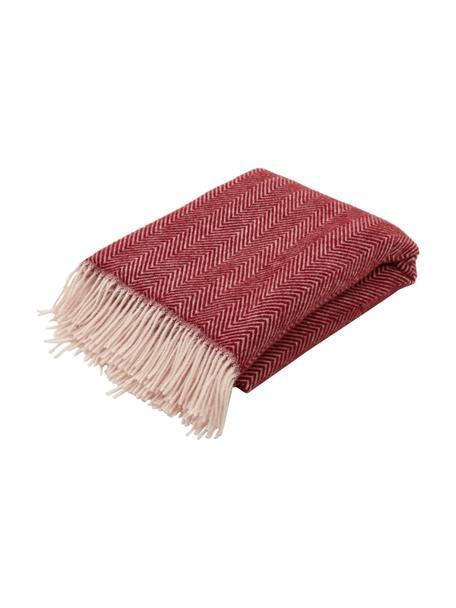 Wollen plaid Tirol-Mona in rood met visgraatpatroon en franjes, 100% wol, Rood, 140 x 200 cm