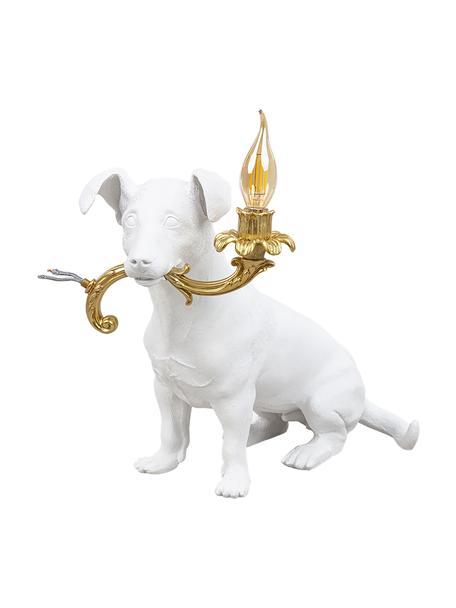 Kleine design tafellamp Rio, Lamp: polyresin, Decoratie: textiel omhuld, Wit, goudkleurig, 25 x 34 cm
