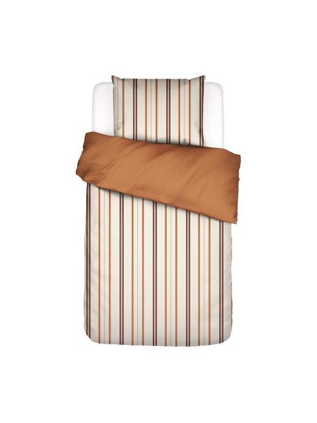 Gestreifte Baumwollsatin-Bettwäsche Merly, Webart: Satin Baumwollsatin wird , Orange, Beige, 135 x 200 cm + 1 Kissen 80 x 80 cm