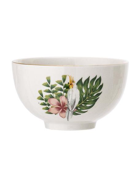 Schälchen Moana mit Goldrand und tropischem Motiv, Steingut, Weiss, Grün, Pink, Ø 12 cm