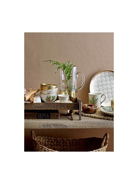 Kommen Moana met goudkleurige rand en tropisch motief, Keramiek, Wit, groen, roze, Ø 12 cm