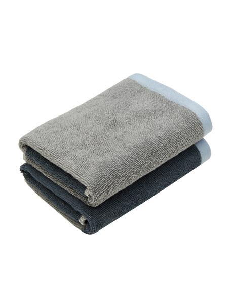 Handdoek Rock in verschillende formaten, 100% biokatoen, Blauw, grijs, Gastendoekje