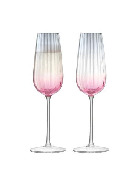 Handgemachte Sektgläser Dusk mit Farbverlauf, 2 Stück, Glas, Rosa, Grau, Ø 6 x H 23 cm