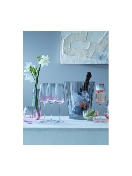 Handgemaakte champagneglazen Dusk met kleurverloop, 2 stuks, Glas, Roze, grijs, Ø 6 x H 23 cm