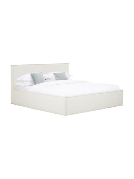 Gestoffeerd bed Dream met opbergruimte in crèmewit, Frame: massief grenenhout en pla, Bekleding: polyester (gestructureerd, Geweven stof crèmewit, 140 x 200 cm