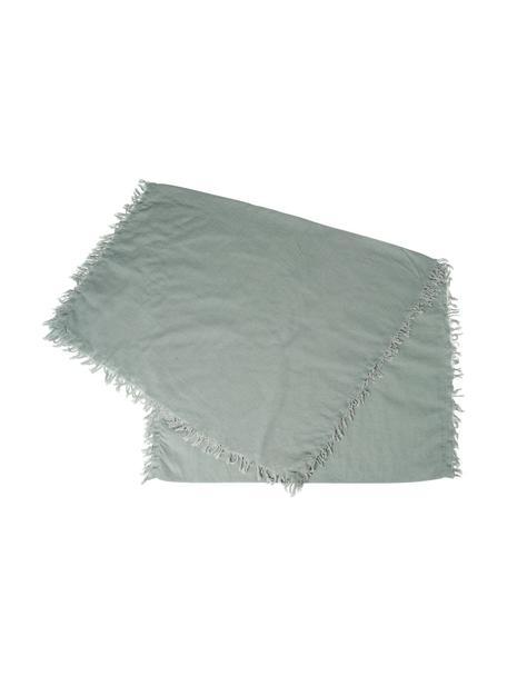 Bieżnik z bawełny z frędzlami Nalia, 100% bawełna, Szałwiowy zielony, S 50 x D 160 cm