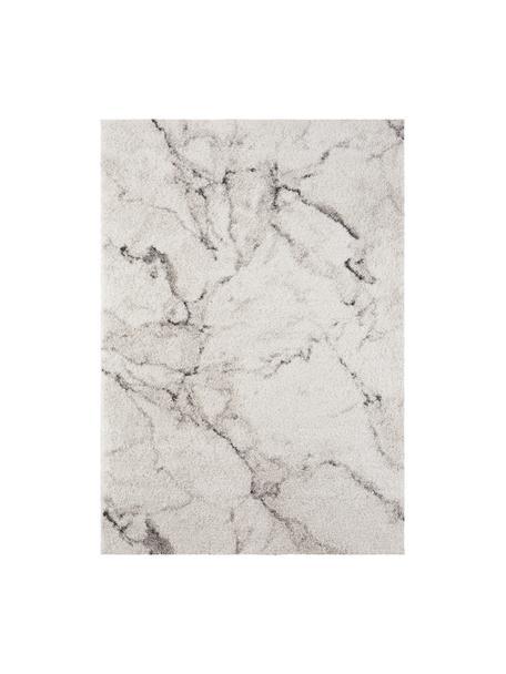 Pluizig hoogpolig vloerkleed Mayrin met gemarmerd patroon, Bovenzijde: 100% polypropyleen, Onderzijde: jute, Crèmekleurig, grijs, B 80 x L 150 cm (maat XS)
