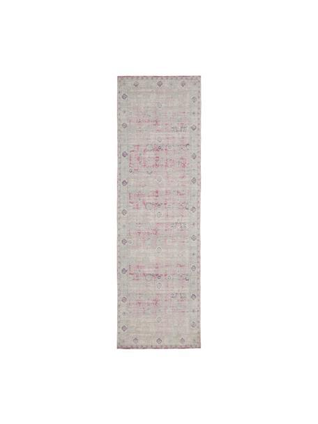 Vintage chenille loper Rimini in roze-lichtgrijs, handgeweven, Bovenzijde: 95% katoen, 5% polyester, Onderzijde: 100% katoen, Roze, grijs, 80 x 250 cm