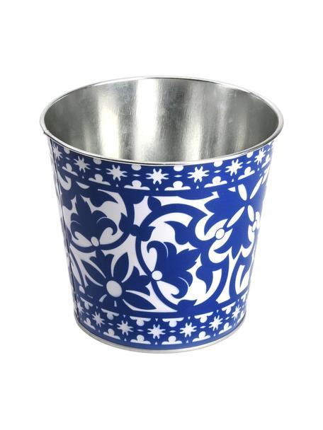 Kleine plantenpot Portugal, Gecoat zink, Blauw, wit, Ø 16 x H 15 cm