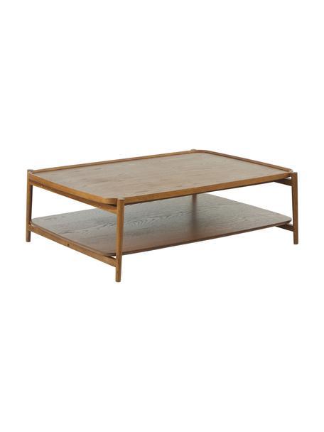 Mesa de centro de roble Libby, Tablero: chapa de roble con tabler, Estructura: madera maciza de roble pi, Marrón oscuro, An 110 x Al 35 cm
