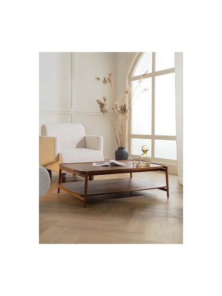 Salontafel Libby van eikenhout, Frame: massief gelakt eikenhout, Donkerbruin, 110 x 35 cm