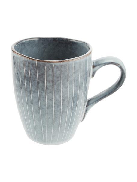 Tazas artesanales de gres Nordic Sand, 6uds., Gres, Tonos grises y azules, Ø 8 x Al 10 cm