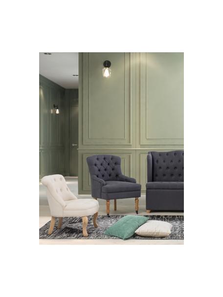 Fotel Arlette, Tapicerka: 55% len, 45% bawełna, Nogi: drewno naturalne, Stelaż: drewno sosnowe, Beżowy, S 61 x G 72 cm