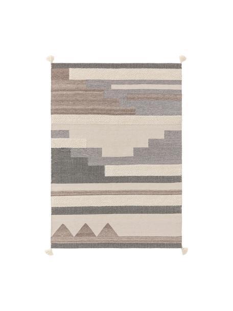 Alfombra de lana artesanal texturizada con borlas Tammi, 80%lana, 20%algodón Las alfombras de lana se pueden aflojar durante las primeras semanas de uso, la pelusa se reduce con el uso diario, Gris, beige, gris pardo, An 120 x L 170 cm (Tamaño S)