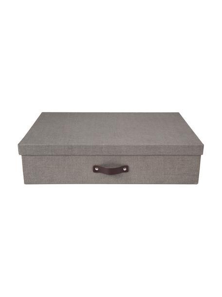 Scatola con coperchio Jakob II, Scatola: solido cartone in lino, Manico: pelle, Scatola esterno: grigio scatola interno: nero manico: marrone scuro, Larg. 43 x Alt. 11 cm