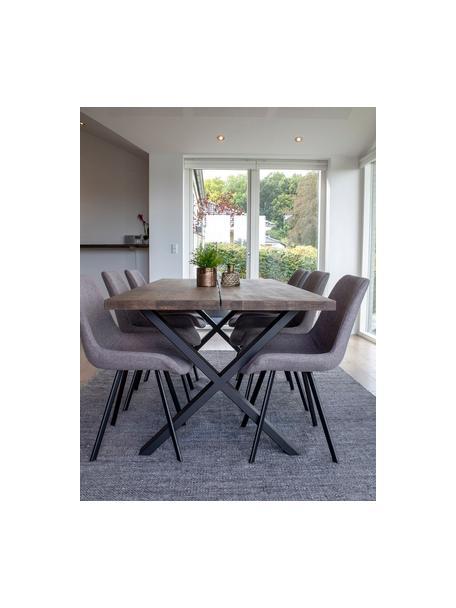 Mesa de comedor Montpellier, tablero de madera maciza, Tablero: madera de roble maciza ac, Estructura: metal con pintura en polv, Roble oscuro, negro, An 200 x F 95 cm