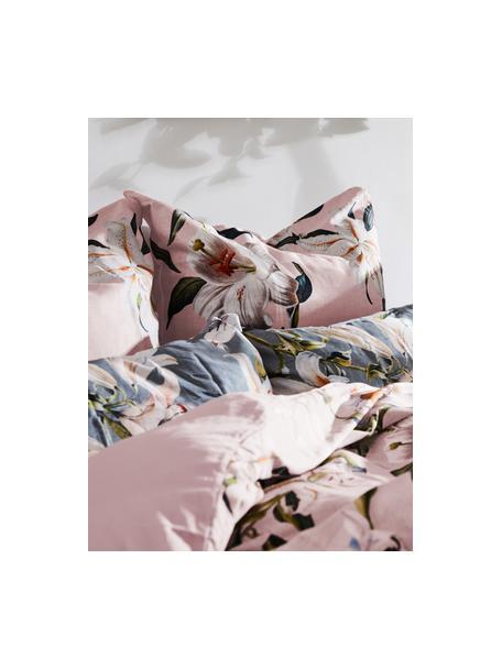 Pościel z satyny bawełnianej Flori, Przód: brudny różowy, kremowobiały Tył: brudny różowy, 135 x 200 cm + 1 poduszka 80 x 80 cm