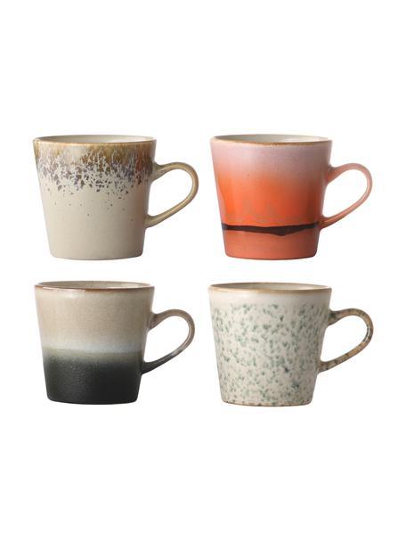 Set 4 tazze retrò fatte a mano 70's, Ceramica, Multicolore, Ø 9 x Alt. 8 cm