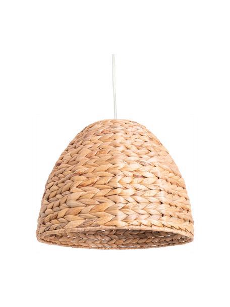 Boho hanglamp Corb, Lampenkap: waterhyacintgras, Baldakijn: kunststof, Bruin, Ø 35 x H 26 cm