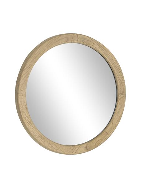 Okrągłe lustro ścienne z drewnianą ramą Alum, Brązowy, Ø 50 x G 4 cm