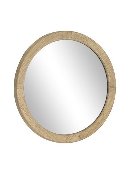 Ronde wandspiegel Alum met houten frame, Lijst: mindihout, Bruin, Ø 50 x D 4 cm