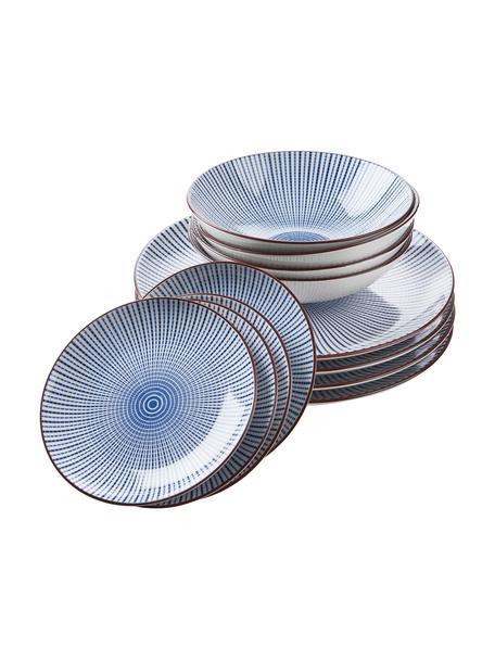 Serviesset Dim Sum met fijn patroon in blauw/wit, 4 personen (12-delig), Keramiek, Blauw, wit, bruin, Set met verschillende formaten