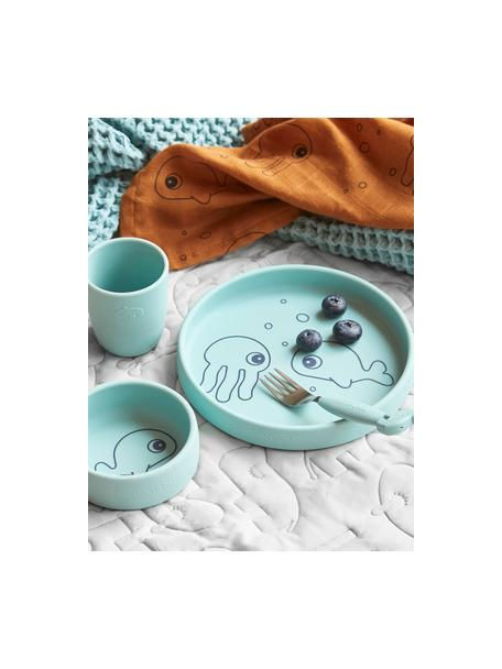 Geschirr-Set Sea Friends, 3-tlg., Silikon, lebensmittelecht Silikon ist weich, haltbar, hitzebeständig und für die Verwendung in Mikrowelle, Ofen und Gefrierschrank geeignet, Blau, Set mit verschiedenen Größen
