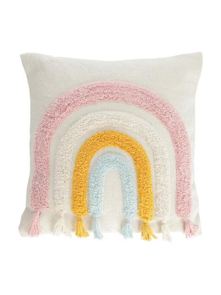Poszewka na poduszkę z chwostami Thaide, 95% bawełna, 5% poliester, Biały, blady różowy, niebieski, pomarańczowy, S 45 x D 45 cm