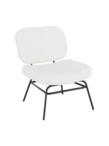 Gestoffeerde teddy stoel Malte in wit, Bekleding: polyester (teddyvacht), Poten: gepoedercoat metaal, Bekleding: crèmewit. Poten: mat zwart, B 58 x D 71 cm