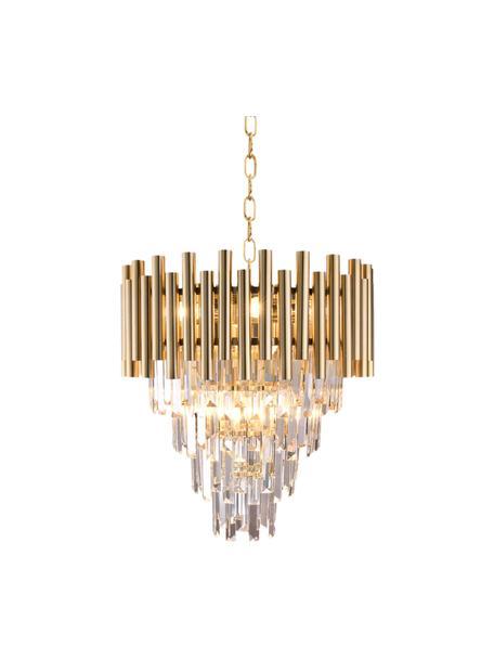 Design kroonluchter Madison in goudkleur, Baldakijn: gecoat metaal, Goudkleurig, transparant, Ø 45 x H 50 cm