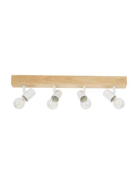 Plafondspot Townshend van hout, Baldakijn: hout, Wit, houtkleurig, 63 x 13 cm