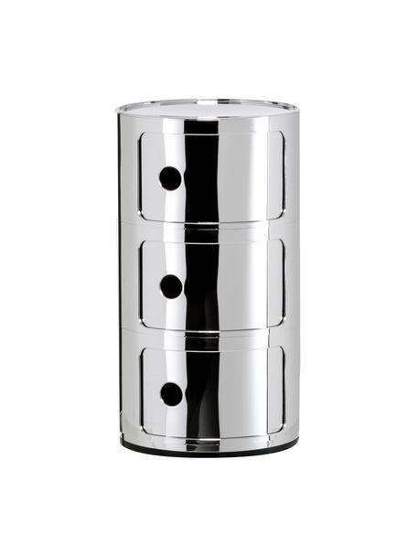 Design Container Componibili 3 Modules, Kunststoff (ABS), lackiert, Chromfarben, glänzend, Ø 32 x H 59 cm