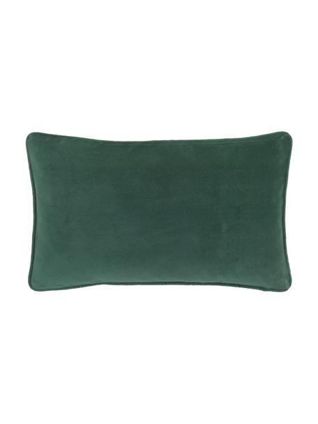 Federa arredo in velluto verde smeraldo Dana, 100% velluto di cotone, Verde smeraldo, Larg. 30 x Lung. 50 cm