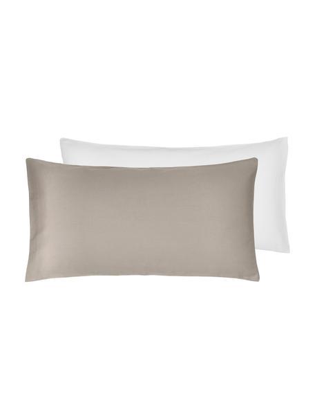 Poszewka na poduszkę z satyny bawełnianej Julia, 2 szt., Biały, taupe, S 40 x D 80 cm