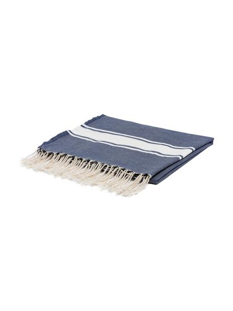 Tovaglia a righe in cotone con frange St. Tropez, Cotone, Blu denim, bianco, Per 6-10 persone  (Larg.150 x Lung. 250 cm)