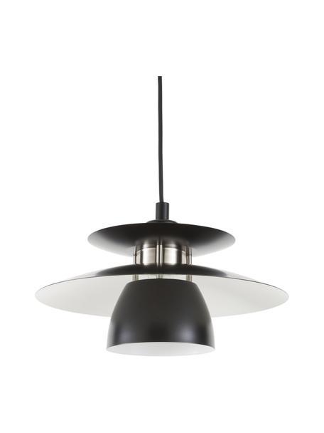 Lámpara de techo pequeña Brenda, Pantalla: metal pintado, Anclaje: metal pintado, Cable: cubierto en tela, Negro, Ø 32 x Al 19 cm
