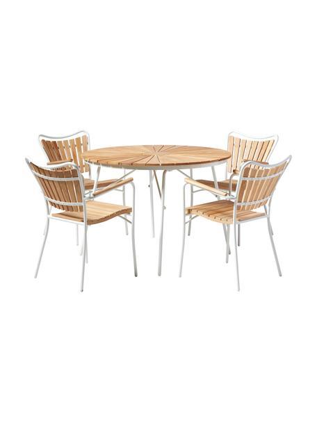 Salotto da giardino in metallo e legno Ellen 5 pz, Legno di teak, oliato Alluminio verniciato a polvere, Bianco, legno di teak, Set in varie misure