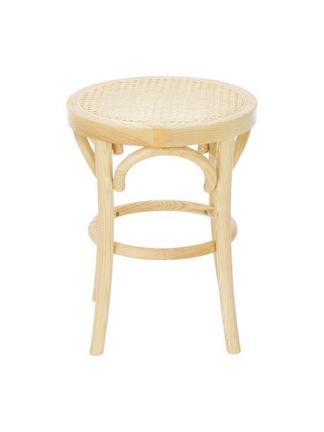 Hocker Franz mit Wiener Geflecht, Sitzfläche: Rattan, Gestell: Buchenholz, massiv, Helles Holz, Ø 36 x H 45 cm