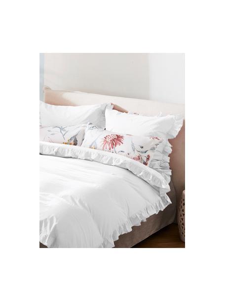 Gewaschene Baumwoll-Kopfkissenbezüge Florence mit Rüschen, 2 Stück, Webart: Perkal Fadendichte 180 TC, Weiß, 40 x 80 cm