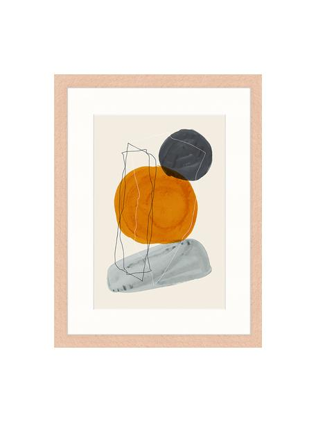 Ingelijste digitale print Creative Abstract, Afbeelding: digitale print op papier,, Lijst: gelakt hout, Multicolour, 33 x 43 cm