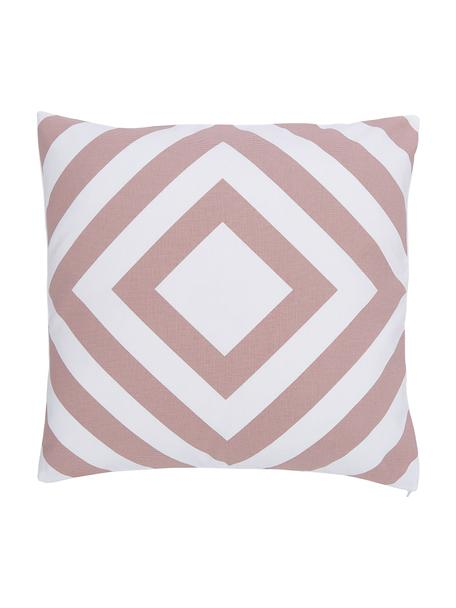 Kissenhülle Sera in Altrosa/Weiß mit grafischem Muster, 100% Baumwolle, Weiß, Altrosa, 45 x 45 cm